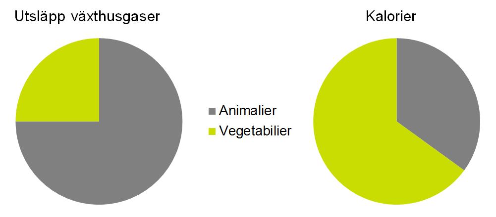 Växthusgaser och kalorier cirkeldiagram